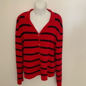 Carolyn Taylor button down sweater striped red XL